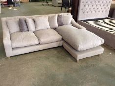 GREY FABRIC 3 SEATER CHAISE