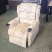 CREAM PATTERNED ELECTIC RISE + RECLINE CHAIR (MARK ON ARM)