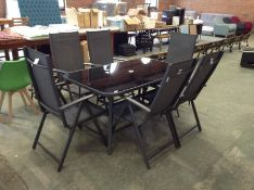 GARDEN TABLE AND 6 X FOLDING CHAIRS CHAIRS(23411/7)