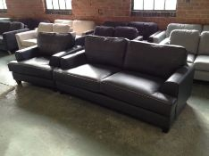 CAMDEN SLATE LEATHER 3 SEATER SOFA AND CHAIR(CAV 5