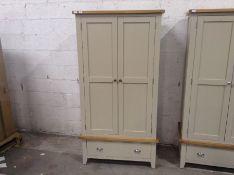 Chester Grey Painted Oak Gents 2 Door 1 Drawer Wardrobe(B/60 -NC-L2DR-PT)