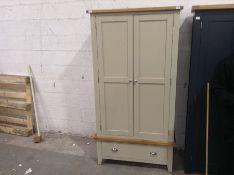 Chester Grey Painted Oak Gents 2 Door 1 Drawer Wardrobe(B/59 -NC-L2DR-PT)(DAMAGED)