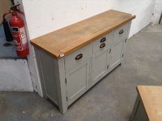 Hampshire Grey Painted Oak Large 3 Door Sideboard (A42 -WXF P05)(DAMAGED)(MISSING HANDLES)