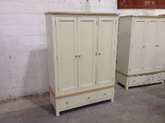 Painted and oak triple wardrobe (damaged marked)