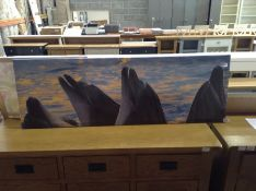 East Urban Home,Group of Dolphins at Sunset Print on Canvas RRP -£73.99 (13774/23 -EUBK0967)