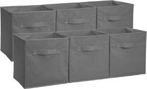 Amazon Basics Foldable Storage Cubes (6 Pack), Grey - RRP £16.42 (AMO030821 - 13 - 77 -