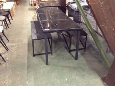 RATTAN GARDEN TABLE AND 2 X BENCHES(23572/4,23572/
