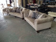 BEIGE VELVET CHESTERFIELD 3 SEATER SOFA AND 2 SEAT
