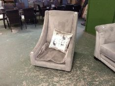 GREY VELVET ACCENT CHAIR (MISSING CORRECT FEET NO SEAT INNERS)
