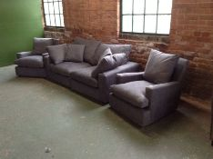 GREY FABRIC 3 SEATER SOFA AND 2 X CHAIRS)(HH39-720