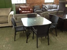 GLASS TABLE AND 4 X CHAIRS