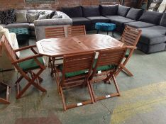 WOODEN GARDEN TABLE AND 6 CHAIRS (23687/4-23412/4)