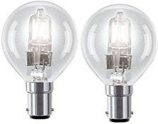 2 x Halogen Golf Ball 18W=23W Light Bulbs SBC B15 Small Bayonet Cap Round Mini Globes Dimmable Lamps