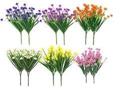 Artificial Fake Flowers 5 Bundles of 5 Colors Outdoor UV Resistant Greenery Shrubs Plants Indoor
