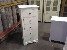 Florence White Painted 5 Drawer Tallboy(C/4 -SW-5DN-W)(MARKED)