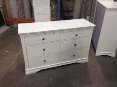 Florence White Painted 6 Drawer Chest(C/47 -SW-6DC-W)(DAMAGED)