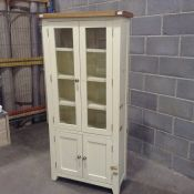 HAMPSHIRE IVORY AND OAK PAINTED DISPLAY CABINET (TAPE MARKS)