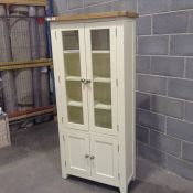 HAMPSHIRE IVORY AND OAK PAINTED DISPLAY CABINET