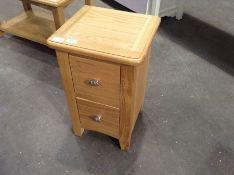 Gloucester Oak 2 Drawer Narrow Bedside Table(C/61 -GAO-SBSC)