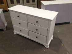 Banbury White Painted 6 Drawer Chest(C/38 -BP-6DC-W)(DAMAGED)