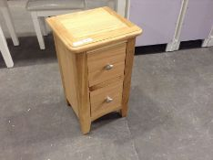 Gloucester Oak 2 Drawer Narrow Bedside Table(C/60 -GAO-SBSC)