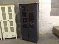 Hampshire Blue Painted Oak Display Cabinet(C/92 -KEL P37-73)(MARKED)