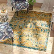 Blue Elephant,Shez Sunny Power Loom Gold/Teal Blue Rug APPROX 200CM RRP -£136.99 (HL10 - 2/5 -