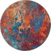 Bloomsbury Market,Bayport Blue/Orange/Red Rug (ROUND / 240CM x 240 cm )(19503/12-LOWV2051)