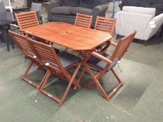 TEAK GARDEN TABLE AND 6 X CHAIRS (23757/3)