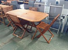TEAK TABLE AND 4 CHAIRS(23408/14)