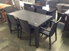 PLASTIC TABLE AND 6 CHAIRS (23779/2 23589/16)