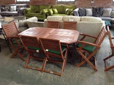 WOODEN GARDEN TABLE AND 6 CHAIRS (23688/5 22688/12