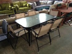 GLASS GARDEN TABLE AND 6 X CHAIRS (23690/5)