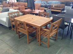TEAK GARDEN TABLE AND4 X CHAIRS (23757/6-23355/13-