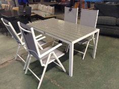 GARDEN TABLE AND 4 X CHAIRS(23195/4 23409/6 23408/