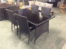 RATTAN TABLE AND 4 X CHAIRS