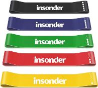 Insonder Resistance Bands Set - Skin Friendly Loop Bands with Workout Guide - Great for Exercise