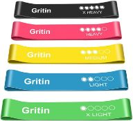 Gritin Resistance Bands, Set of 5 Skin-Friendly Resistance Fitness Exercise Loop Bands