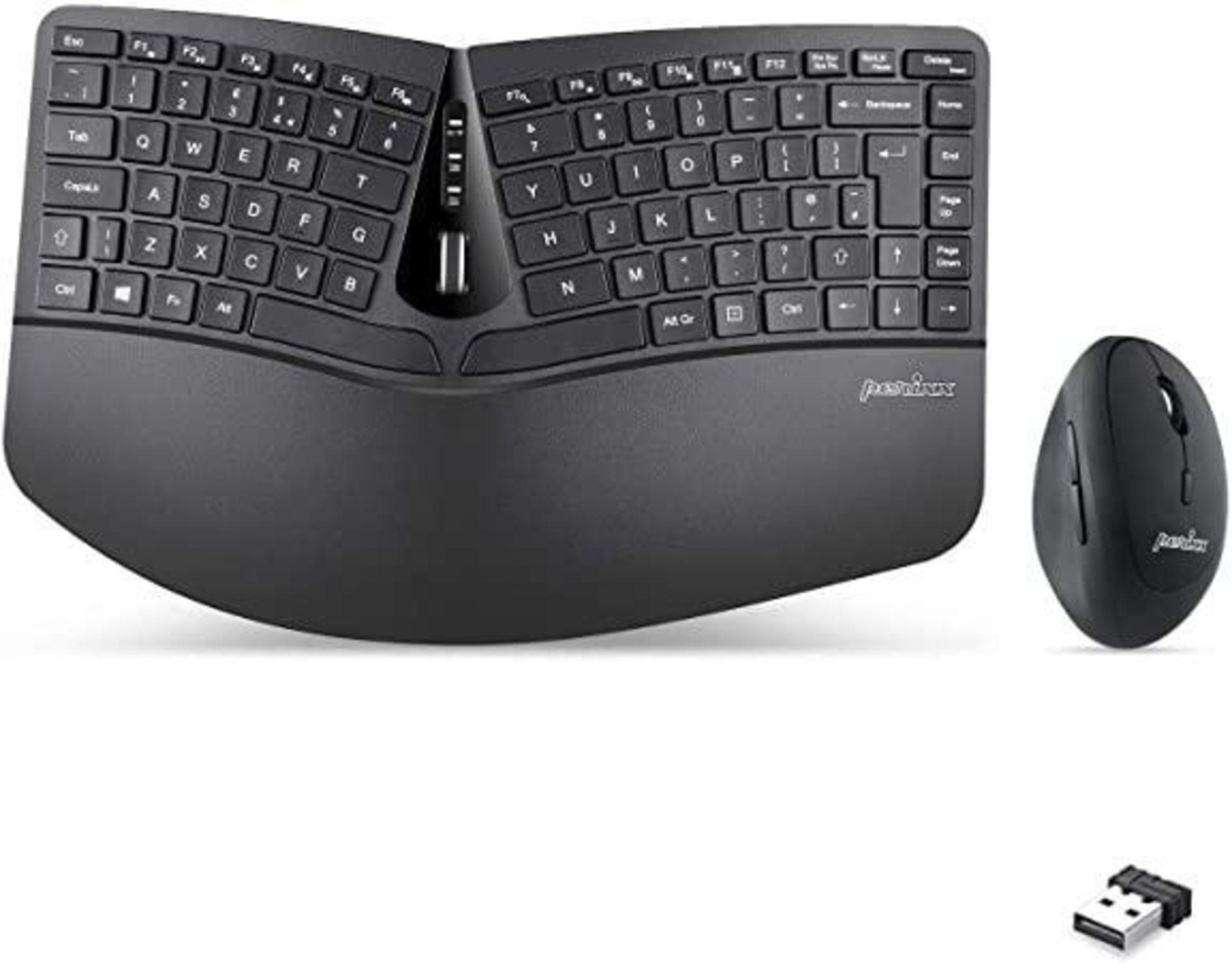 Perixx PERIDUO-606 Wireless Mini Ergonomic Keyboard and Vertical Mouse Combo,UK Layout
