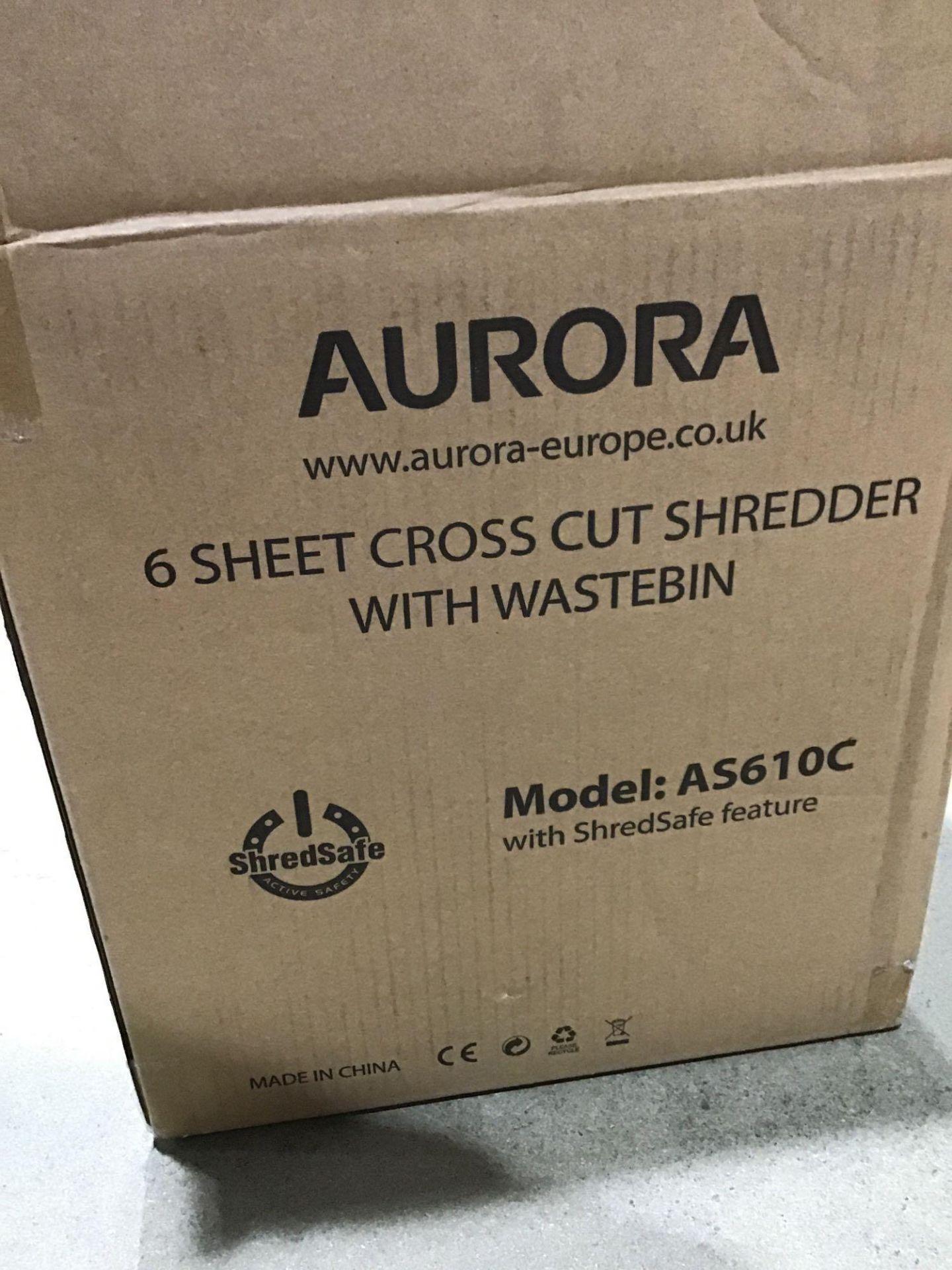Aurora AS610C 6 Sheet Cross-Cut Shredder with Waste Bin, Black/Silver £39.59 RRP - Image 3 of 4