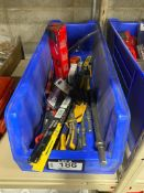 Parts Bin w/ Asst. Hand Tools including Circuit Testers, Bow Saw Blades, Cutting Pliers, Chisel Bits