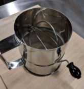 8 CUP STAINLESS STEEL ROTARY SIFTER, OMCAN 80424