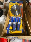 Lot of Asst. Irwin Saw Blade, Lenox 9-in-1 Screwdrivers, Sawzall Blades, Magnetic Drive Guides, etc.