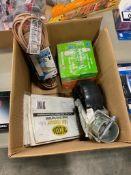 Box of Asst. Extension Cord, Light Bulbs, Caster, etc.