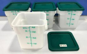 4QT SQUARE WHITE FOOD STORAGE CONTAINER, JOHNSON ROSE 56104 - LOT OF 4 - NEW