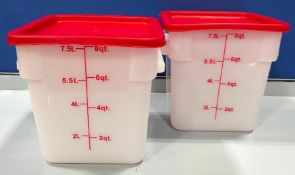8QT SQUARE WHITE FOOD STORAGE CONTAINER, JOHNSON ROSE 56108 - LOT OF 2 - NEW