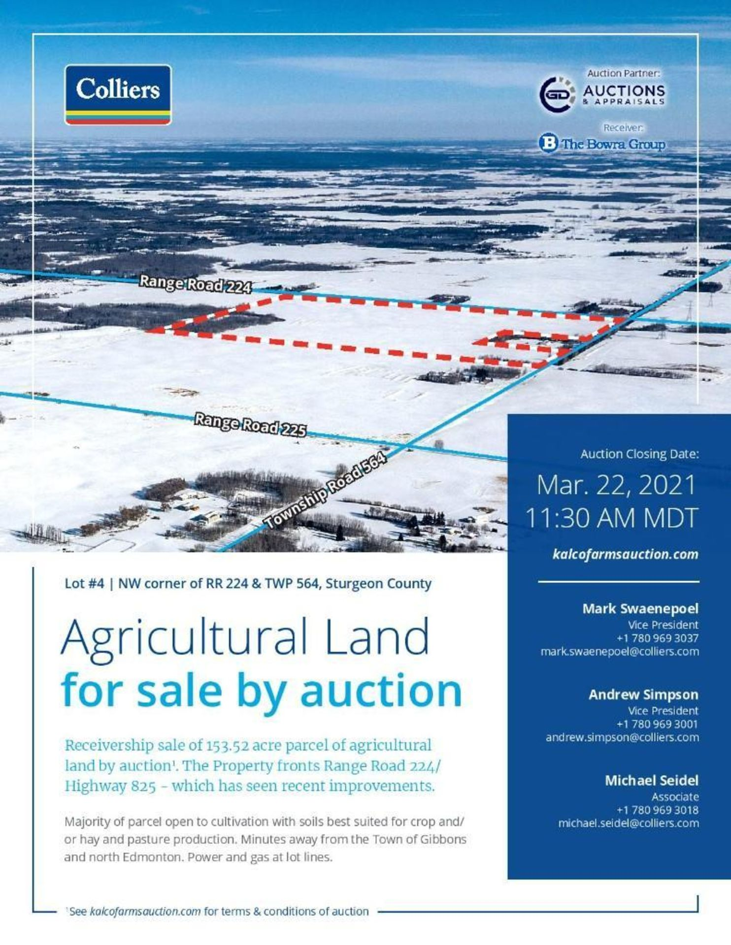 Lands located at Civic Address NW corner of RR 224 & TWP 564, Sturgeon County. - Image 2 of 7