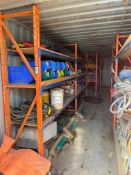Contents of Seacan including Parts Racking, Electrical Cords, Tarps, Hoses, Controls, Tool Boxes, et