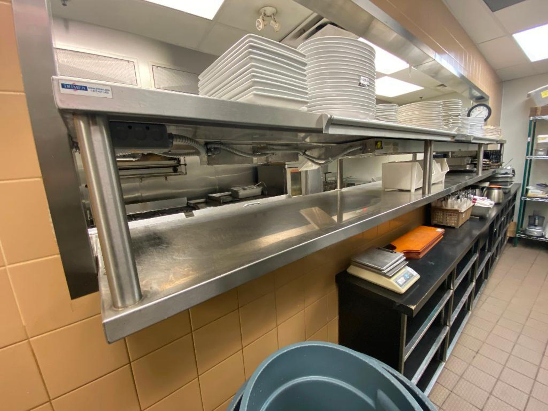 APPROX 14' STAINLESS STEEL OVER WITH 2 HATCO GLO-RAY FOOD WARMERS - NOTE: REQUIRES REMOVAL FROM WALL - Image 3 of 6
