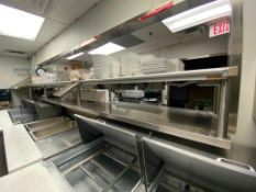 APPROX 14' STAINLESS STEEL OVER WITH 2 HATCO GLO-RAY FOOD WARMERS - NOTE: REQUIRES REMOVAL FROM WALL